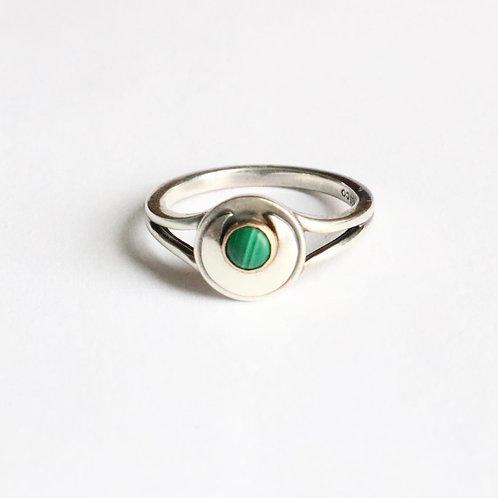 Silver Malachite Ring - Malachite Jewelry - Gold Malachite Ring - Boho Rings - H
