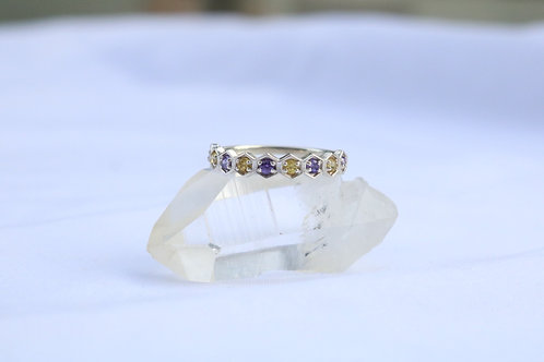 Yellow and Purple Sapphire Silver Ring