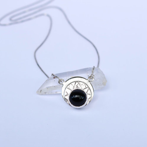 "Onyx Silver Necklace ""Black Hole Sun"""