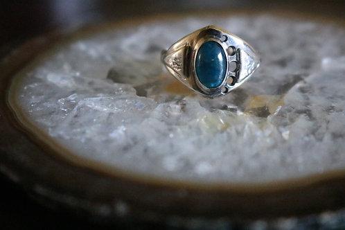 Indigo Blue Apatite Ring Silver Brazilian Blue Apatite Ring