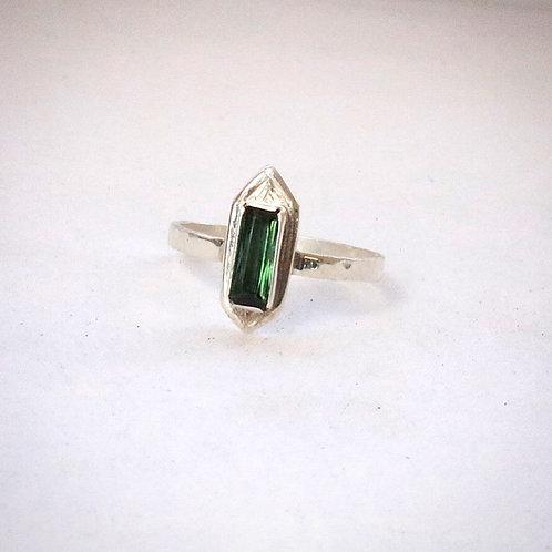 Green tourmaline baguette ring