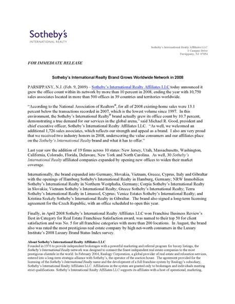 [SIR] PRESS RELEASE- SIR Grows International Network 02/09/2009