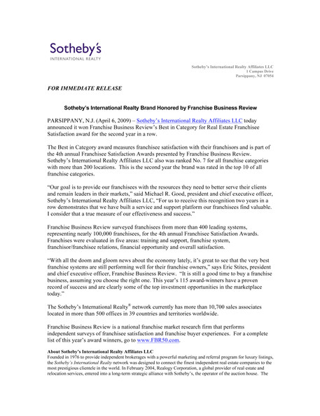 [SIR] PRESS RELEASE-Franchise Business Review Award 04/06/2009