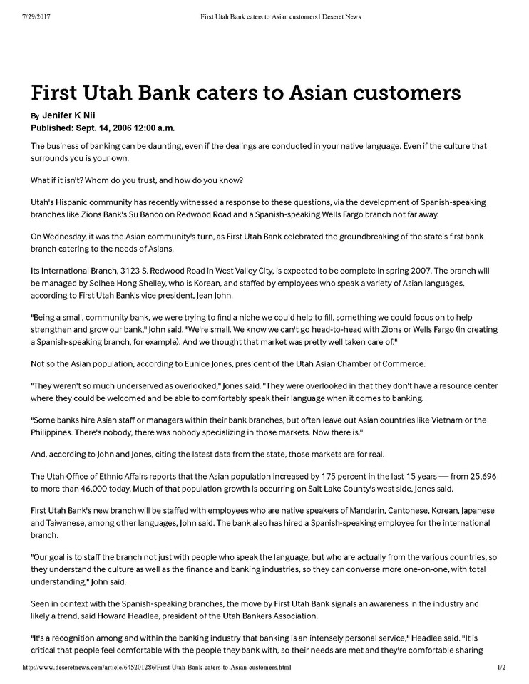 [First Utah Bank] Deseret News 09/14/2006