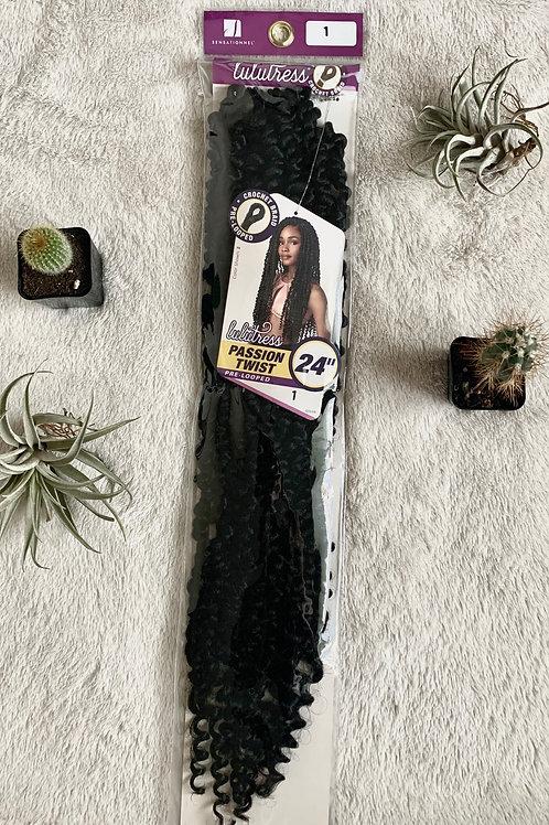 "24"" Crotchet Braid Pre-looped Lulutress Passion Twists in #1B (Black)"