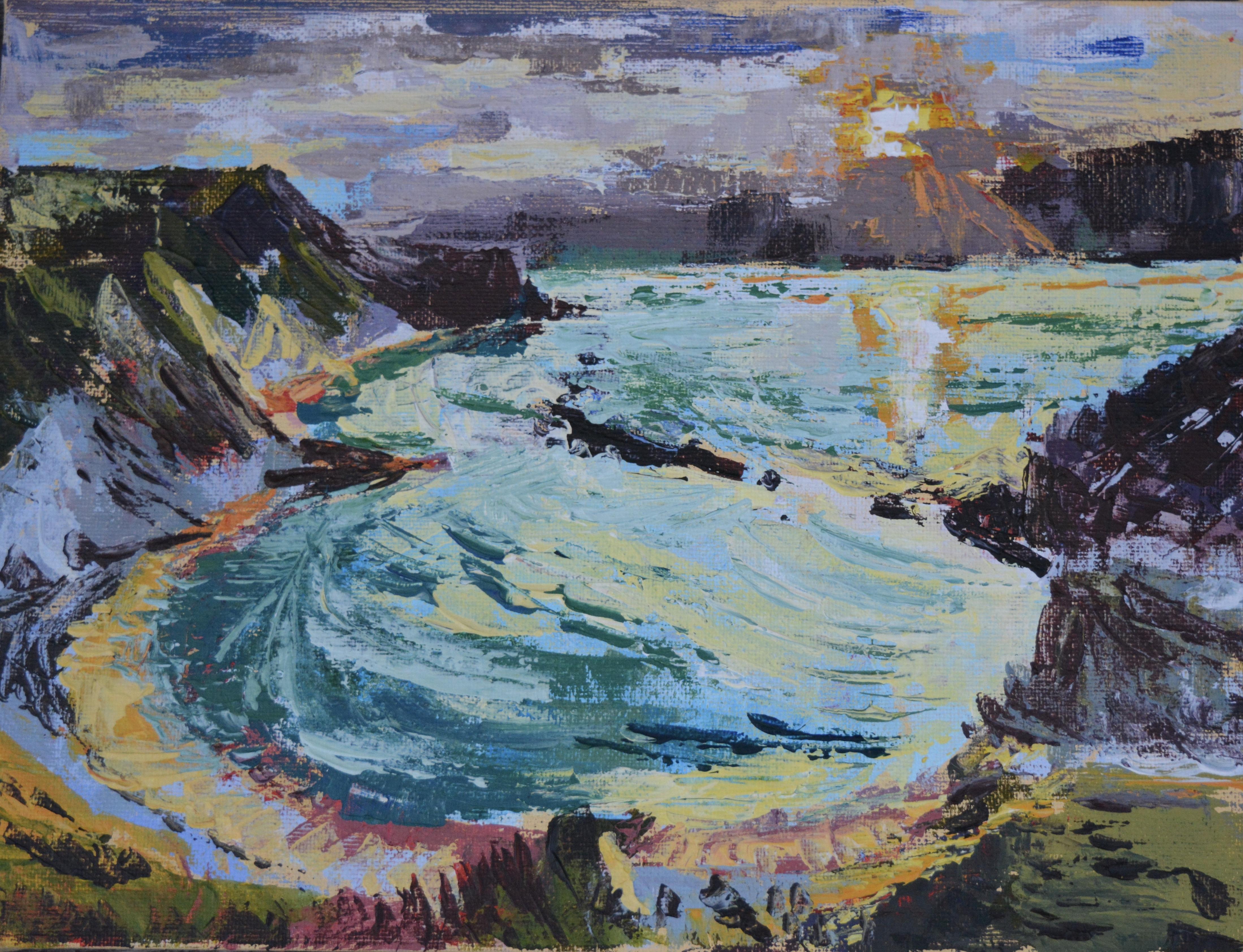 Man of War Bay, Acrylic on Canvas, 30.5 x 23cm
