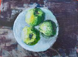 Three Apples, Acrylic on Canvas, 23 x 30.5 cm