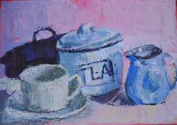 Tea caddy and cups, acrylic on canvas, 35.5 x 36 cm