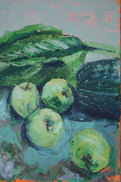 Study in green, apples, acrylic on canvas, 25.5 x 35.5 cm