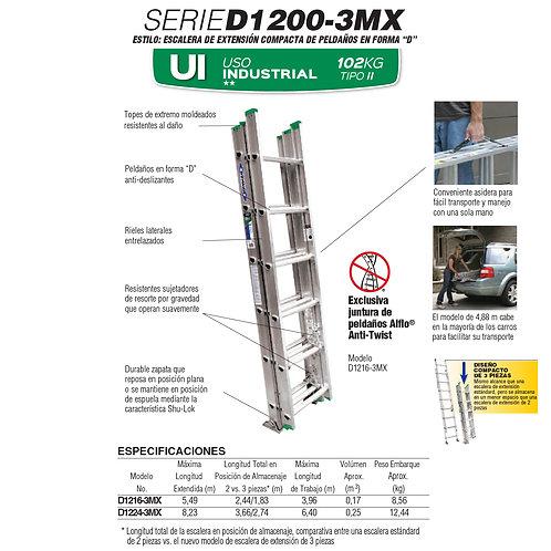 Extensi�n Triple Alum Tipo II 16 Esc 4.88m No. De modelo D1216-3MX