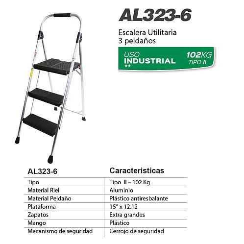 Taburete aluminio Negro Tipo II 3 pelda�os No. De modelo AL323-6