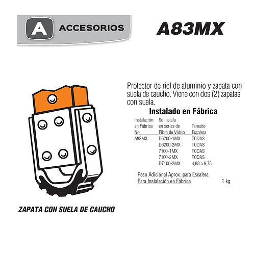 Zapata Con Suelas De Caucho No. De modelo A83MX