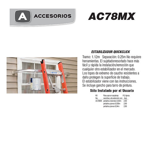 Estabilizador QuickClick No. De modelo AC78MX
