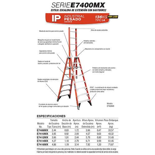 Extensi�n F.V. c/caballete Tipo IA 3.05/4.27m No. De  modelo E7410MX