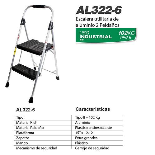 Taburete aluminio Negro Tipo II 2 pelda�os No. De modelo AL322-6
