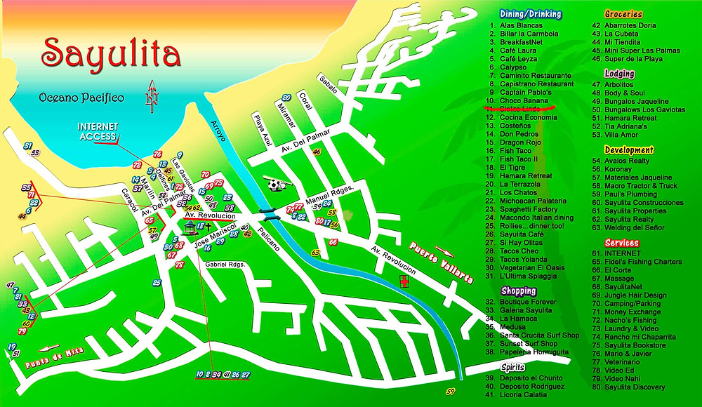 Sayulita Mexico map downtown