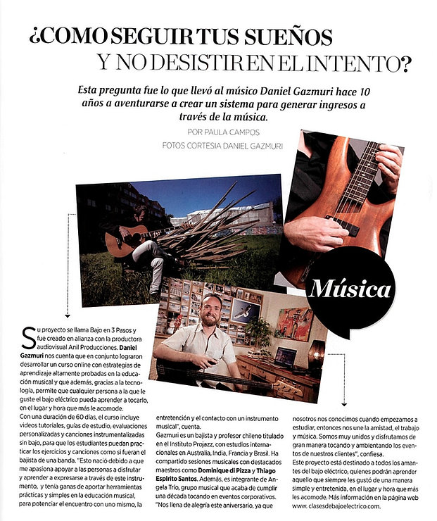 Revista Vanidades, Daniel Gazmuri, clases de bajo eléctrico, cursos online, serrano bassluthier, ergo straps