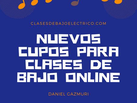 Nuevos cupos paras clases de bajo online!