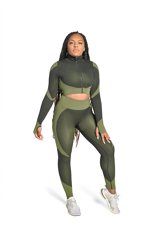 SPORTY  Compression 3pc Set in Army Green