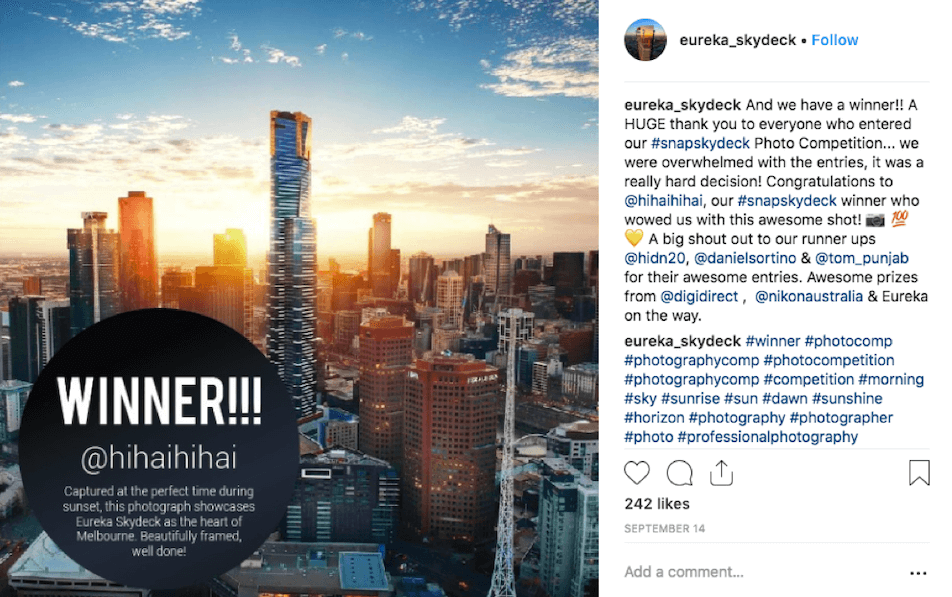 Eureka Skydeck's photo contest on Instagram
