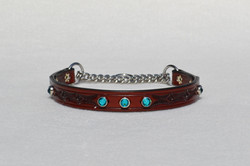 Tooled Red Mahogany Chain Martingale with Teal Swarovski Crystals