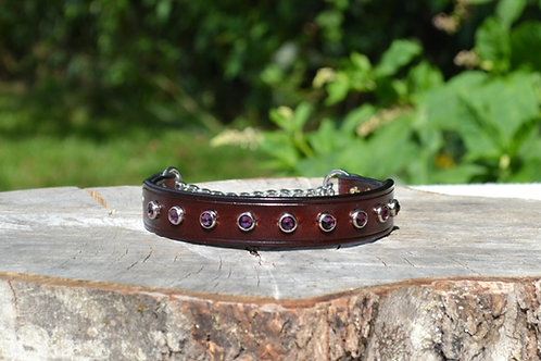 "Red Mahogany Chain Martingale w/ Purple Swarovski Crystals (12 5/8"")"