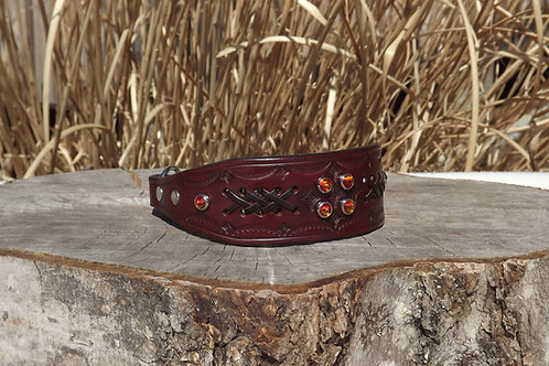 "Tooled Autumn Wheat Chain Martingale w/ Lacing and Crystals (12 3/8"")"