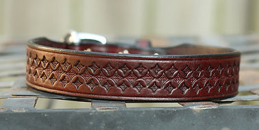 Tooled leather buckle dog collar