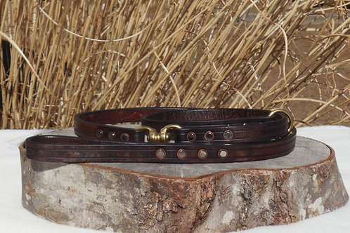"3/4""+ Weathered Walnut Harness Leather Swivel Slip Lead"