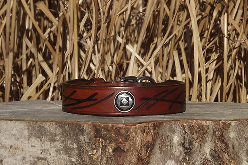 """Light Brown Leather Buckle Collar w/ Hand-cut Design (Fits 13 3/4""""-15 1/4"""" neck)"""