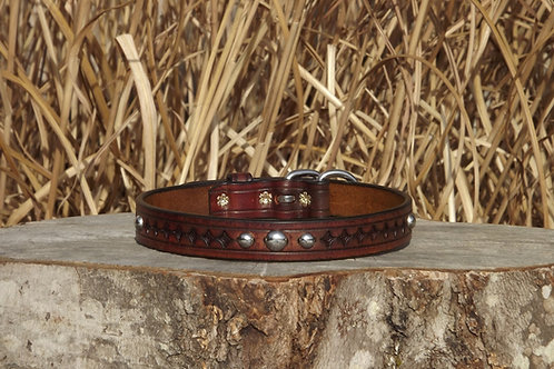"Tooled Weathered Walnut Buckle Collar with SS Spots (Fits 17 1/8""-18 1/2"")"