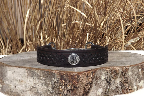 """Tooled Dark Brown Chain Martingale w/ SS Concho (19 5/8"""")"""