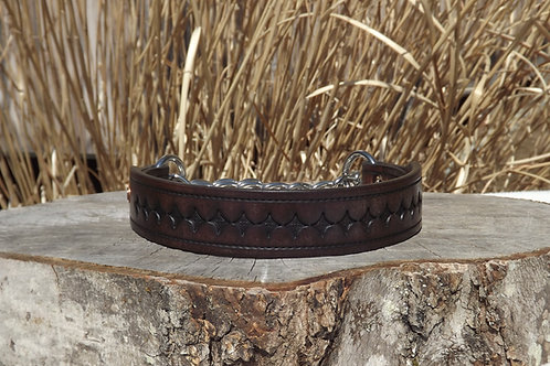 "Tooled Weathered Walnut Chain Martingale (19"")"