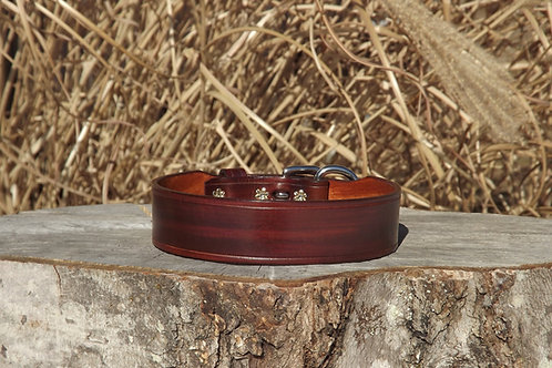 "Streaked Medium Brown Leather Buckle Collar (Fits 14 7/8""-15 5/8"" neck)"