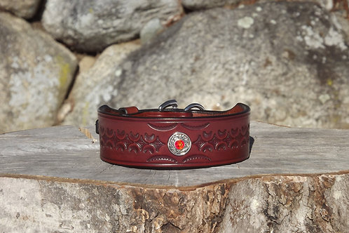 """Tooled Autumn Wheat Sighthound Collar w Concho and Crystal (Fits 12""""-12 1/2"""")"""