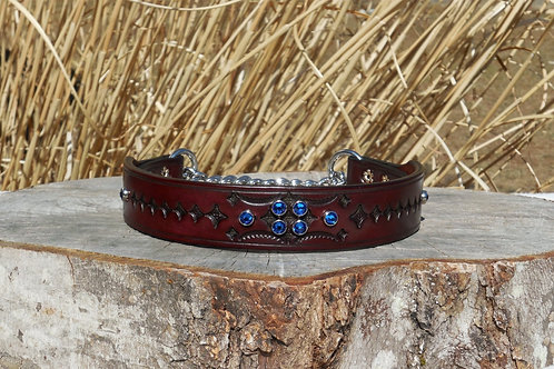"""Tooled Cherry Chain Martingale w/ Sapphire Crystals (18 3/4"""")"""