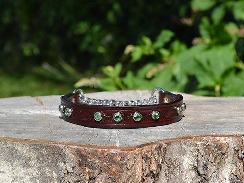 "Tooled Cherry Chain Martingale w/ Light Green Swarovski Crystals (12 7/8"")"