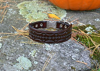 Tooled leather dog collar with metal side release buckle