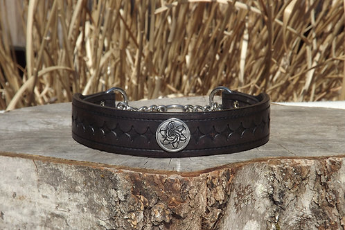 """Tooled Walnut Chain Martingale w/ SS Concho (17 3/4"""")"""
