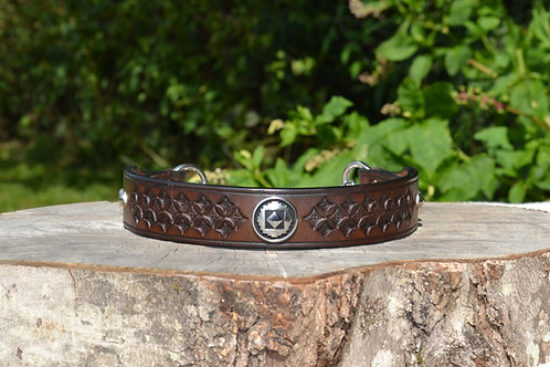 "Tooled Two-tone Brown Chain Martingale w/ Concho and Spots (18 5/8"")"