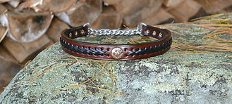 Leather chain martingale dog collar with black lacing, concho, and stainless steel 3 ring assembly chain