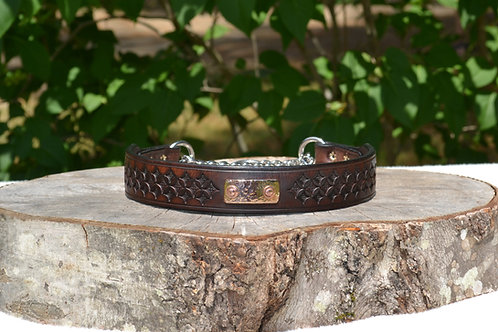 "Tooled Two-tone Brown Chain Martingale w/ Bronze Plate (20"")"
