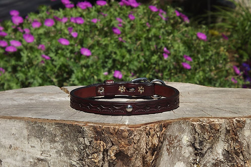 """Tooled Cherry Buckle Collar w/ SS Spot Accent (Fits 12""""-13"""")"""
