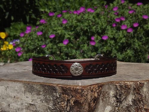 """Tooled Two-tone Brown Chain Martingale w/ Pictish Knot Concho (17 3/8"""""""")"""