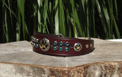 Tooled Sighthound Collar with Swarovski Crystals and Texas Star Conchos
