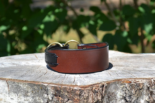 "Chestnut with Black Flat Martingale Collar (11 3/4"")"