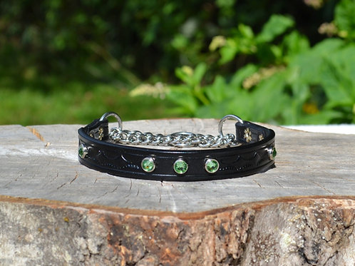 "Tooled Black Chain Martingale Collar with Green Swarovski Crystals (13 1/4"")"