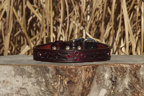 "Tooled Red Mahogany Collar with Ruby Swarovski Crystals (Fits 14 3/4""-16"" neck)"
