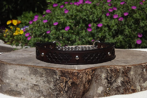 """Tooled Dark Brown Chain Martingale w/ SS Accents (20"""")"""