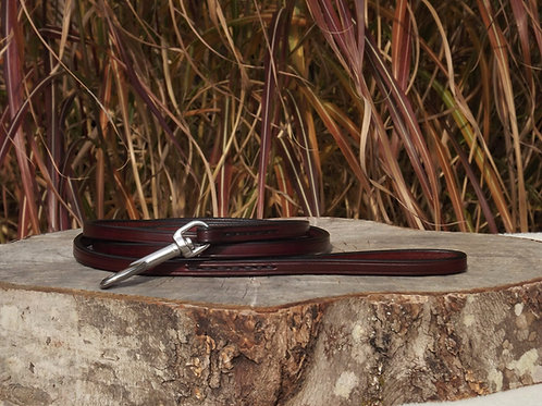 "3/8"" x 5' Red Mahogany Leather Leash w/ Stainless Steel"